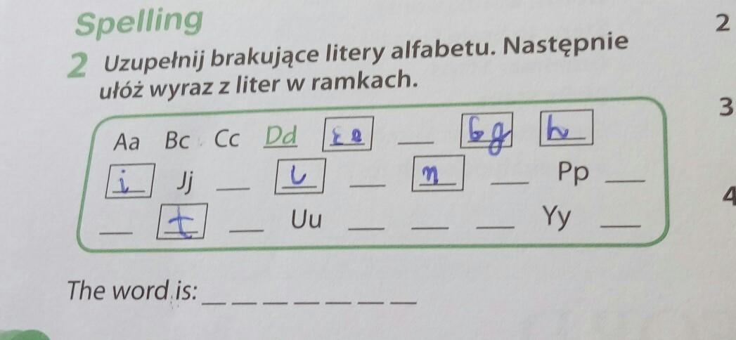 Uzupełnij Brakujące Litery Alfabetu Nastepnie Ułóż Wyrazy Z Liter W