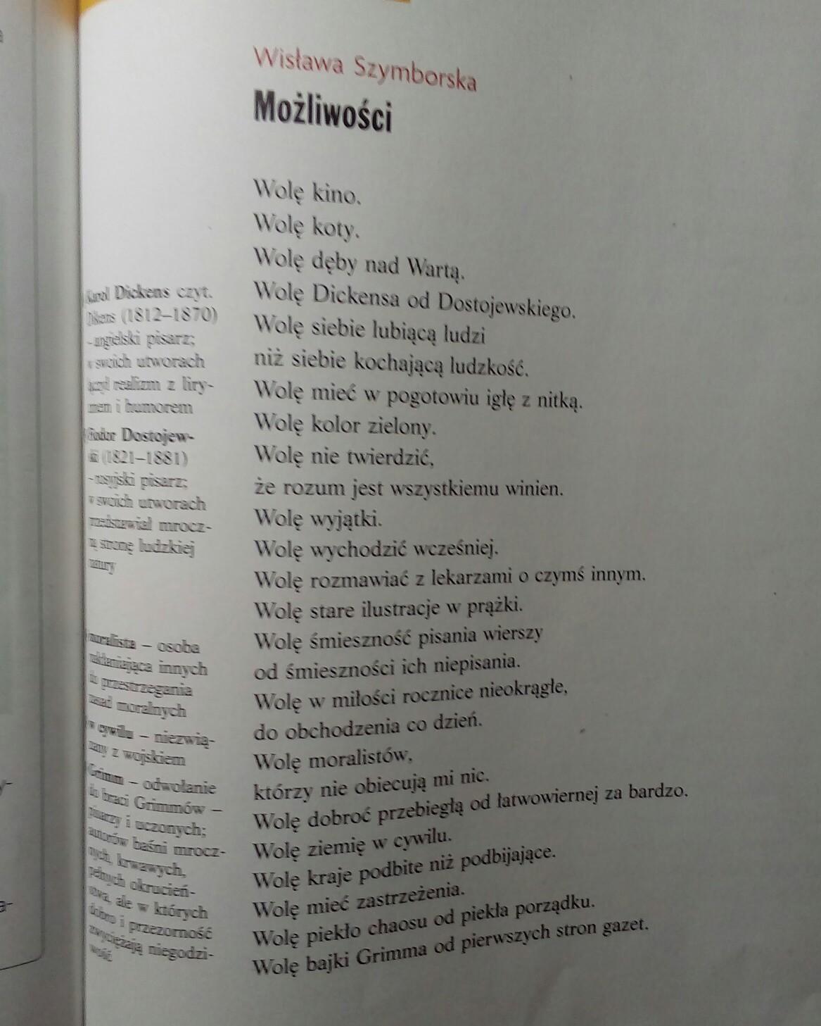 Czy Możliwości Wislawa Szymborska To Wiersz Czy Proza Plis O