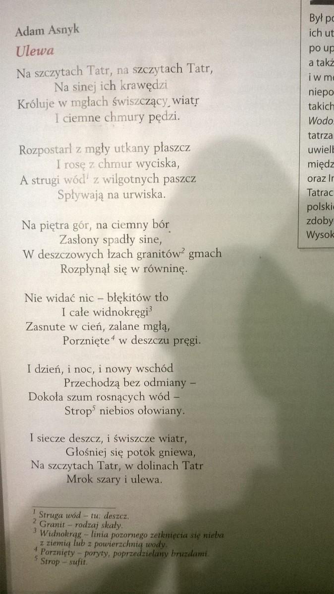 Adam Asnyk Ulewa Wypisz Układ I Rodzaj Rymów Policz