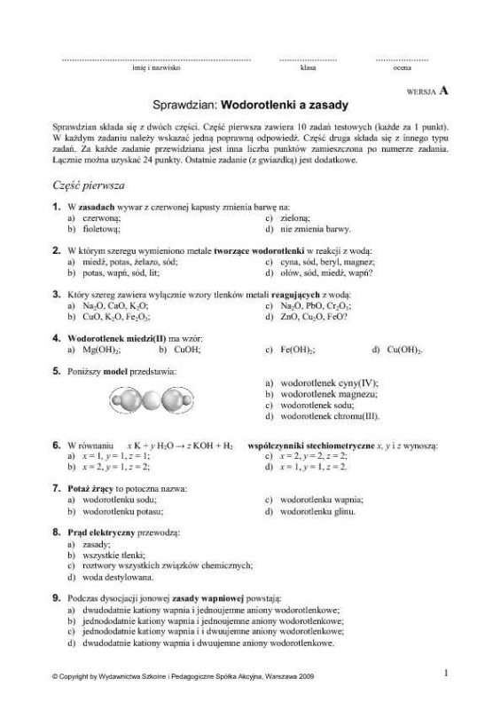 Modne ubrania Proszę o rozwiązanie testu z chemii wodorotlenki a zasady Grupę A EV25