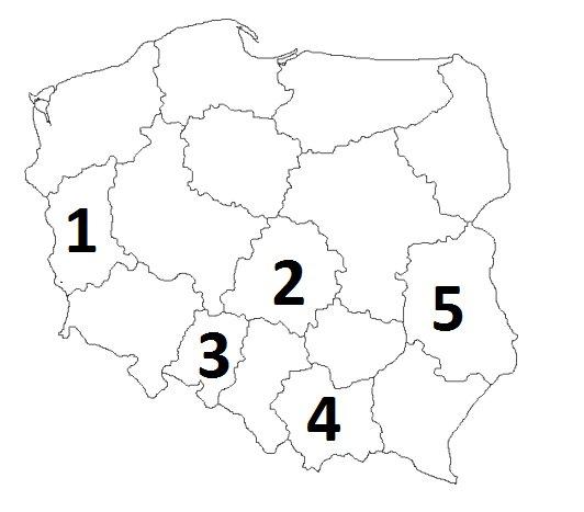 1 Do Oznaczonych Na Mapie Polski Cyfr Przyporzadkuj Nazwe