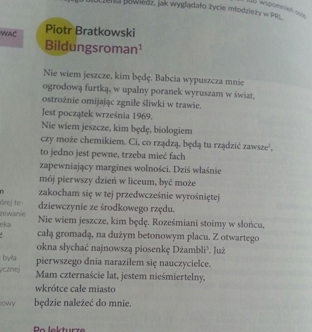 Analiza I Interpretacja Wiersza Bildungsroman Piotra