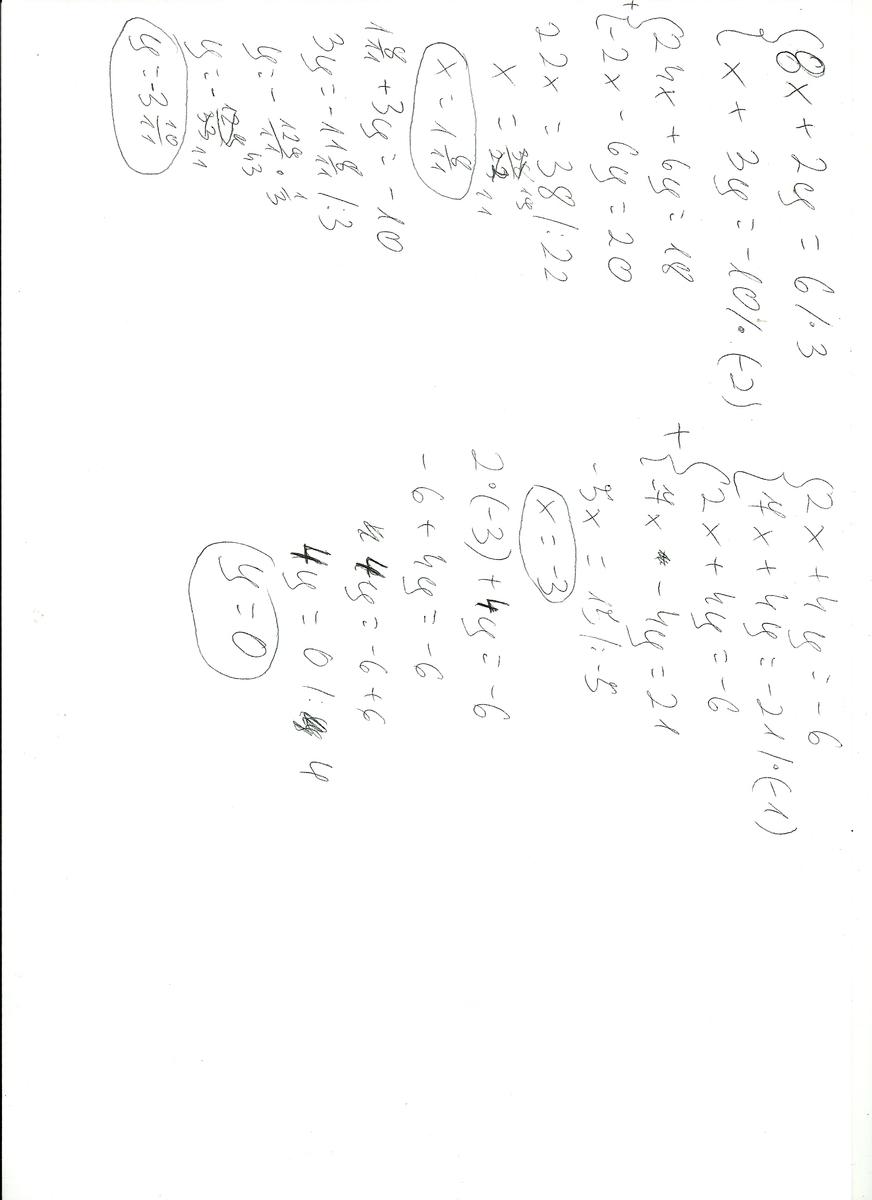 Rozwiaz układ rownan ;dd 1). 8x + 2y = 6 x + 3y =-10 2 ...