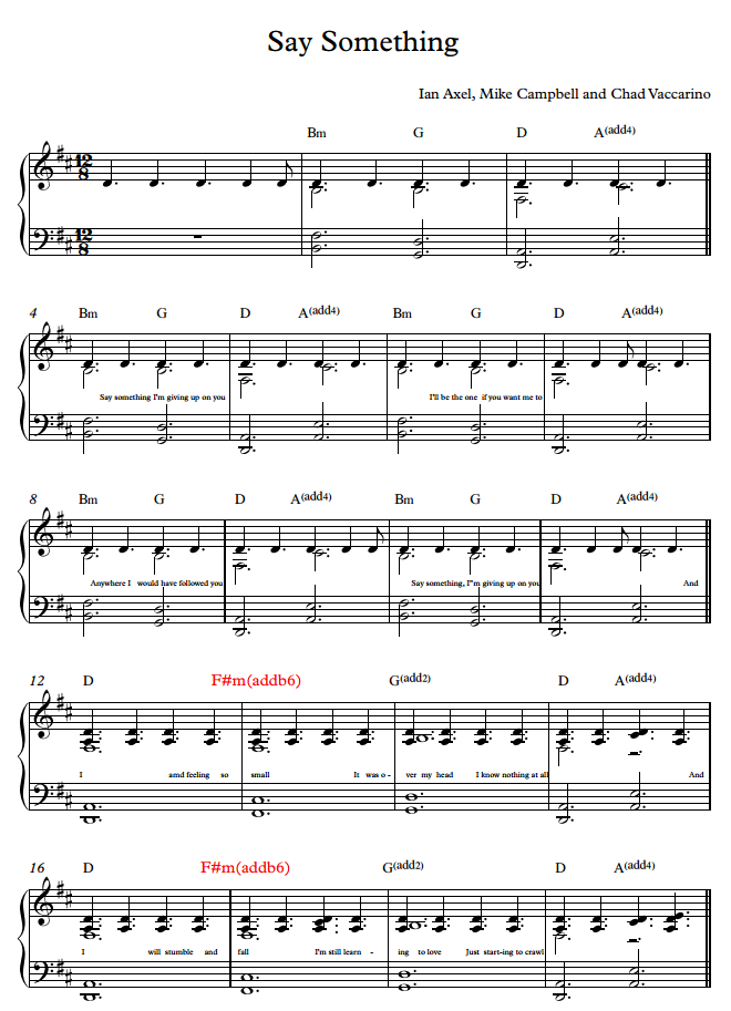 All Music Chords sheet music for say something : Nuty do say something na fortepian na obydwie ręce - Brainly.pl