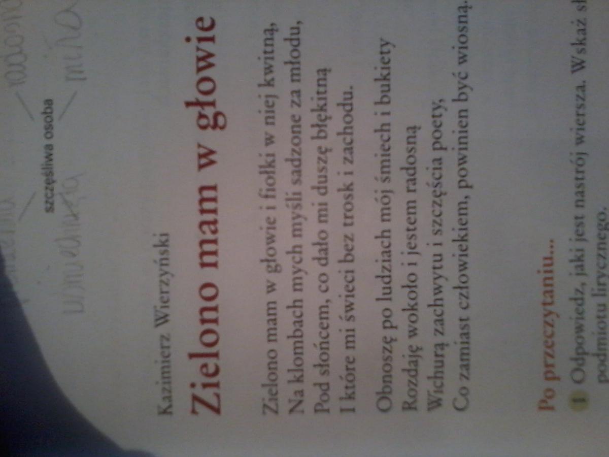 Zadanie 1 Odpowiedz Jaki Jest Nastrój W Wierszu Kazimierza