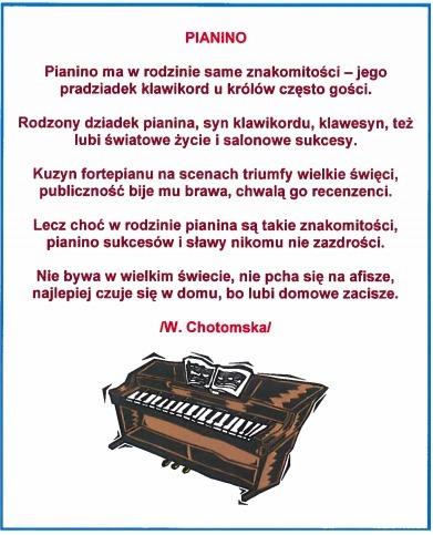 Napisz Cały Wiersz Wandy Chotomskiej O Instrumentach