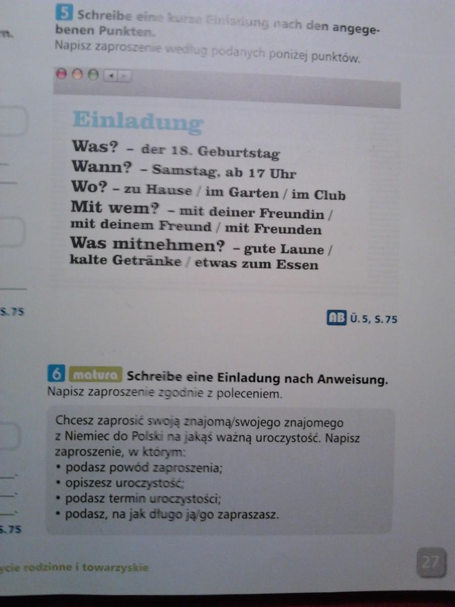 Zaproszenie Po Niemiecku Treść W Załączniku Zadanie 5 I 6 Proszę