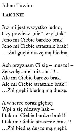 Interpretacja Wiersza Tak I Nie Julian Tuwim Wiersz W