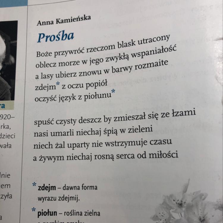 Powiedz Czy Wiersz Anny Kamieńskiej Ma Cechy Hymnu