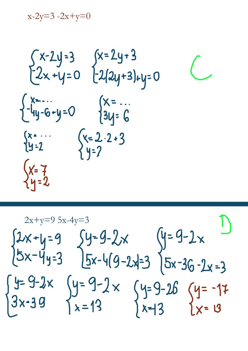 rozwiaz podane układy rownan metoda podstawiania : a)x+2y ...