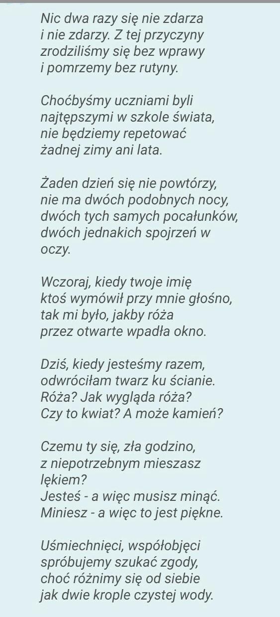 Znajdź W Wierszu Wiesławy Szymborskiej Nic Dwa Razy