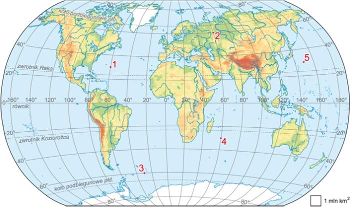 Na Mapie Swiata Zaznaczono Punkty Od 1 Do 5 Zaznacz Poprawne