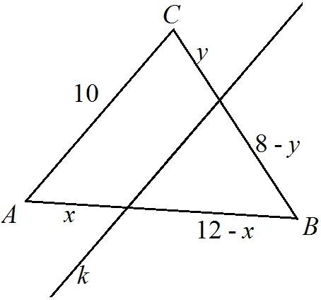 若ab 10 bc 8 ac 6_Dany jest trójkąt ABC o bokach: |AB|=12 |BC|=8 |AC|=10 Poprowadzono prostą K ...