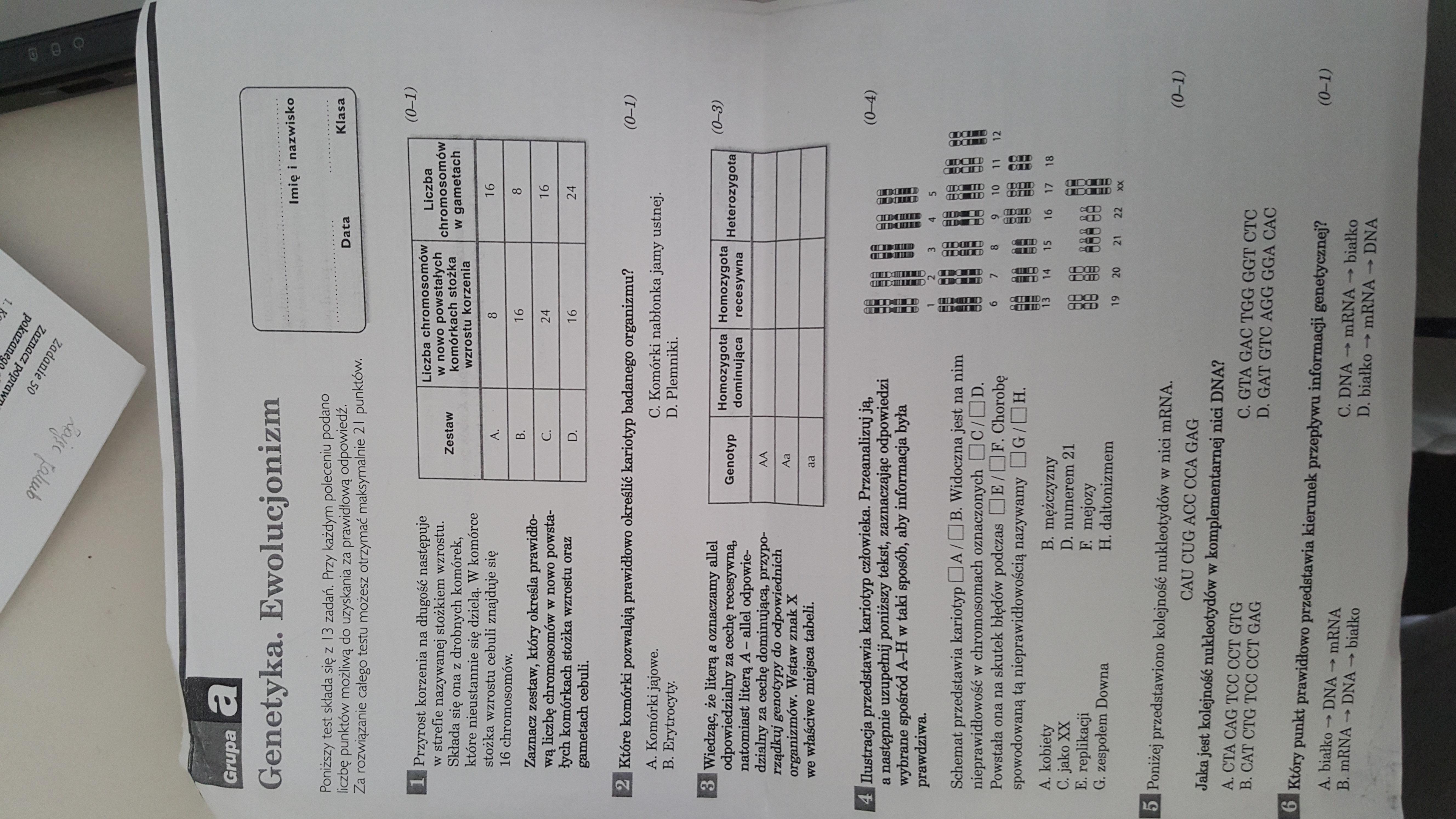 sprawdzian z biologii klasa 8 genetyka pdf