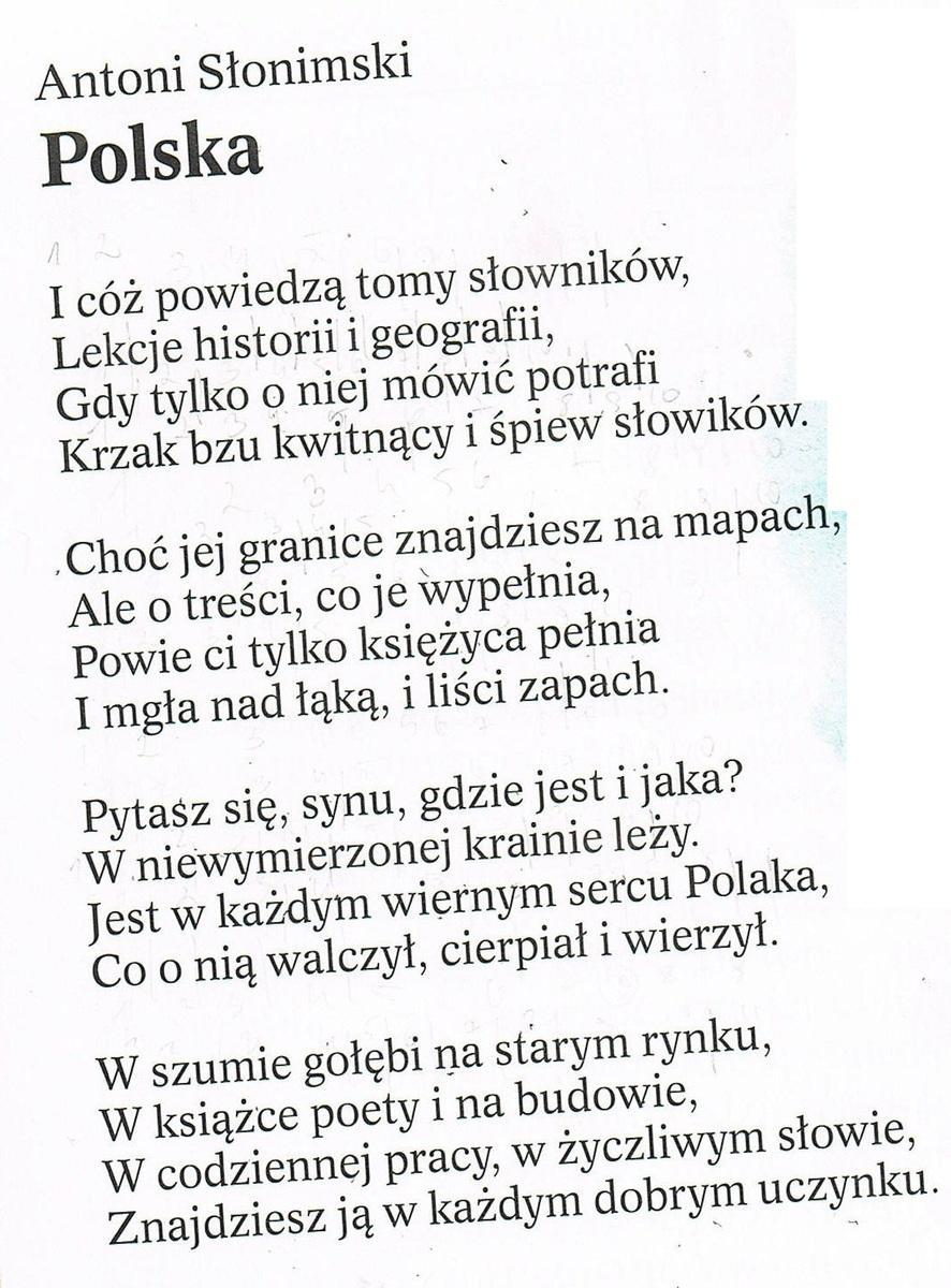 Wiersz Polska W Załączniku 1jaki Jest Układ Rymów W