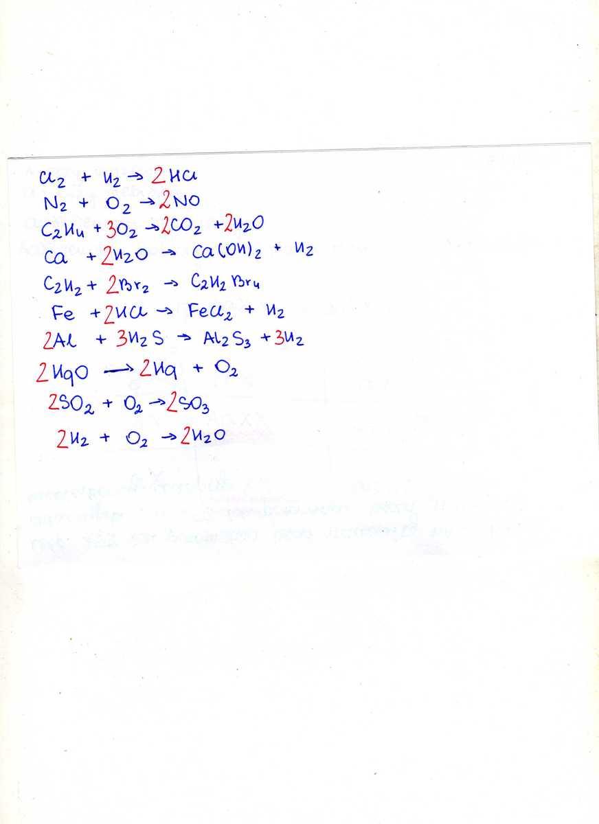 """...Cl2 + ....H2 -> ….HCL …N2 + ….O2 -> ….NO …"""" title=""""…Cl2 + ….H2 -> ….HCL …N2 + ….O2 -> ….NO …""""></center><center><img style="""