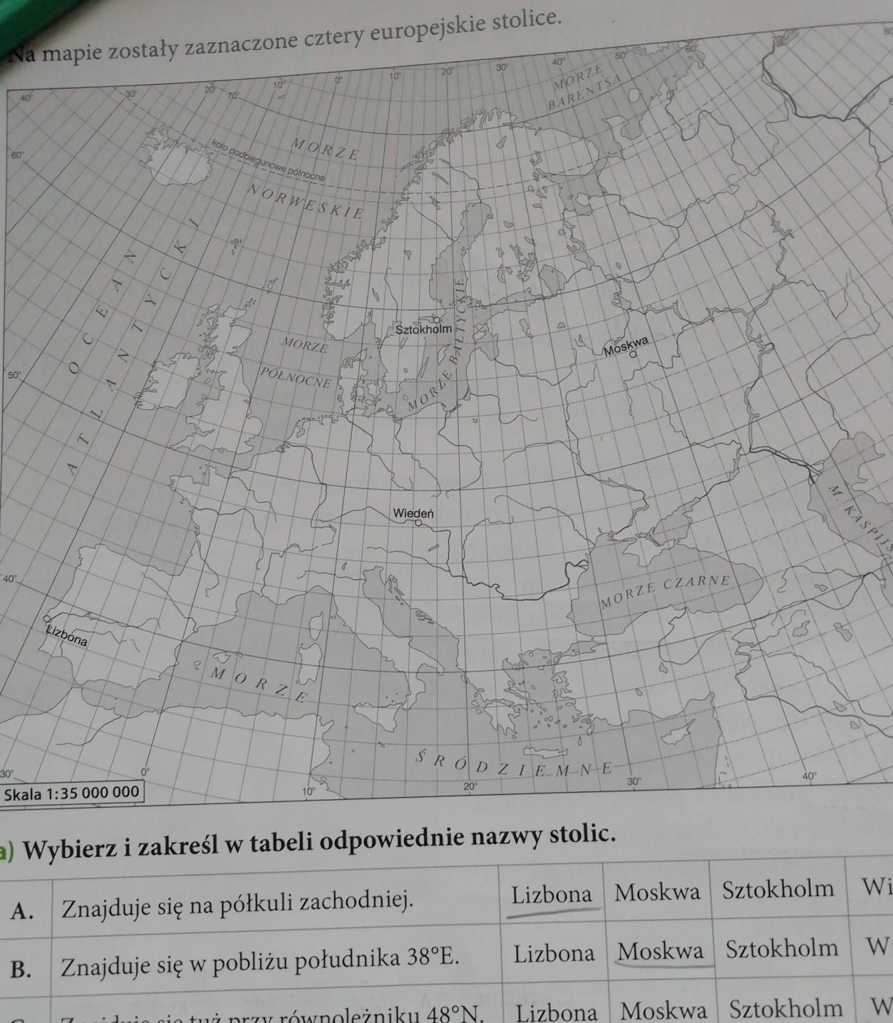 Zaznacz Na Mapie Polozenie Trzech Stolic Ktorych Wspolrzedne