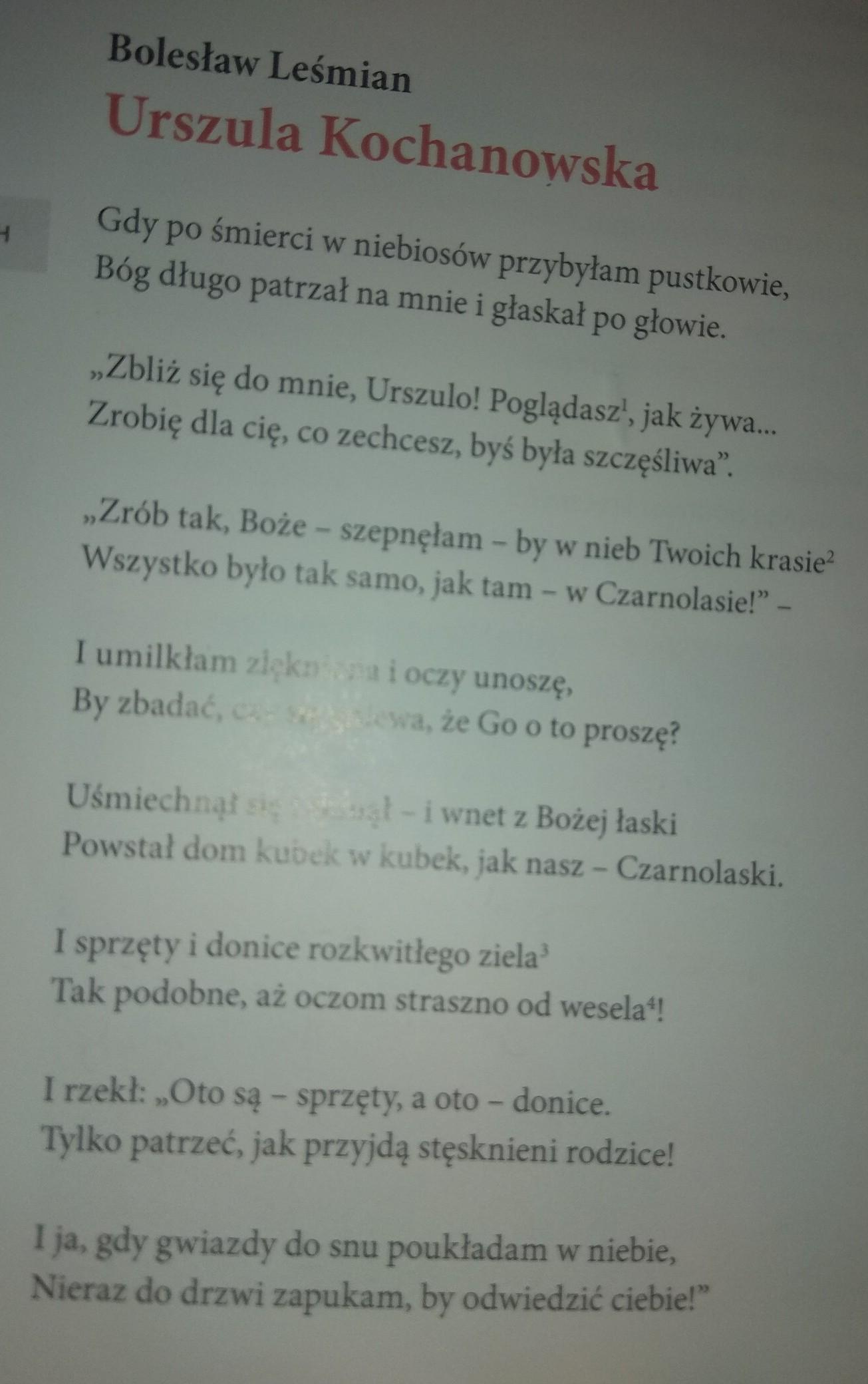 Jak Wygląda Urszula Kochanowska W Wierszu Bolesława Leśmiana