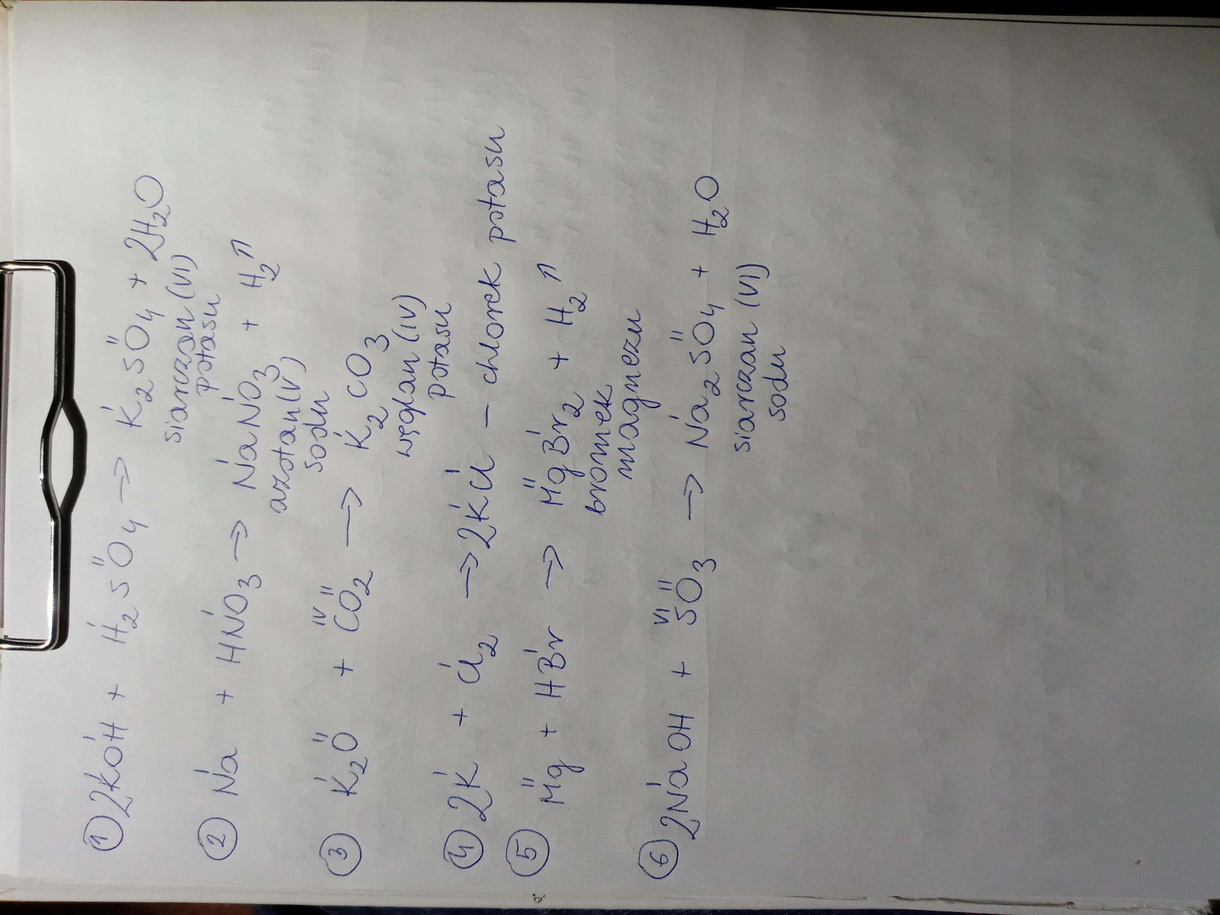 Dokończ równania reakcji: KOH + H2SO4 → Na + HNO3 → K2O ...