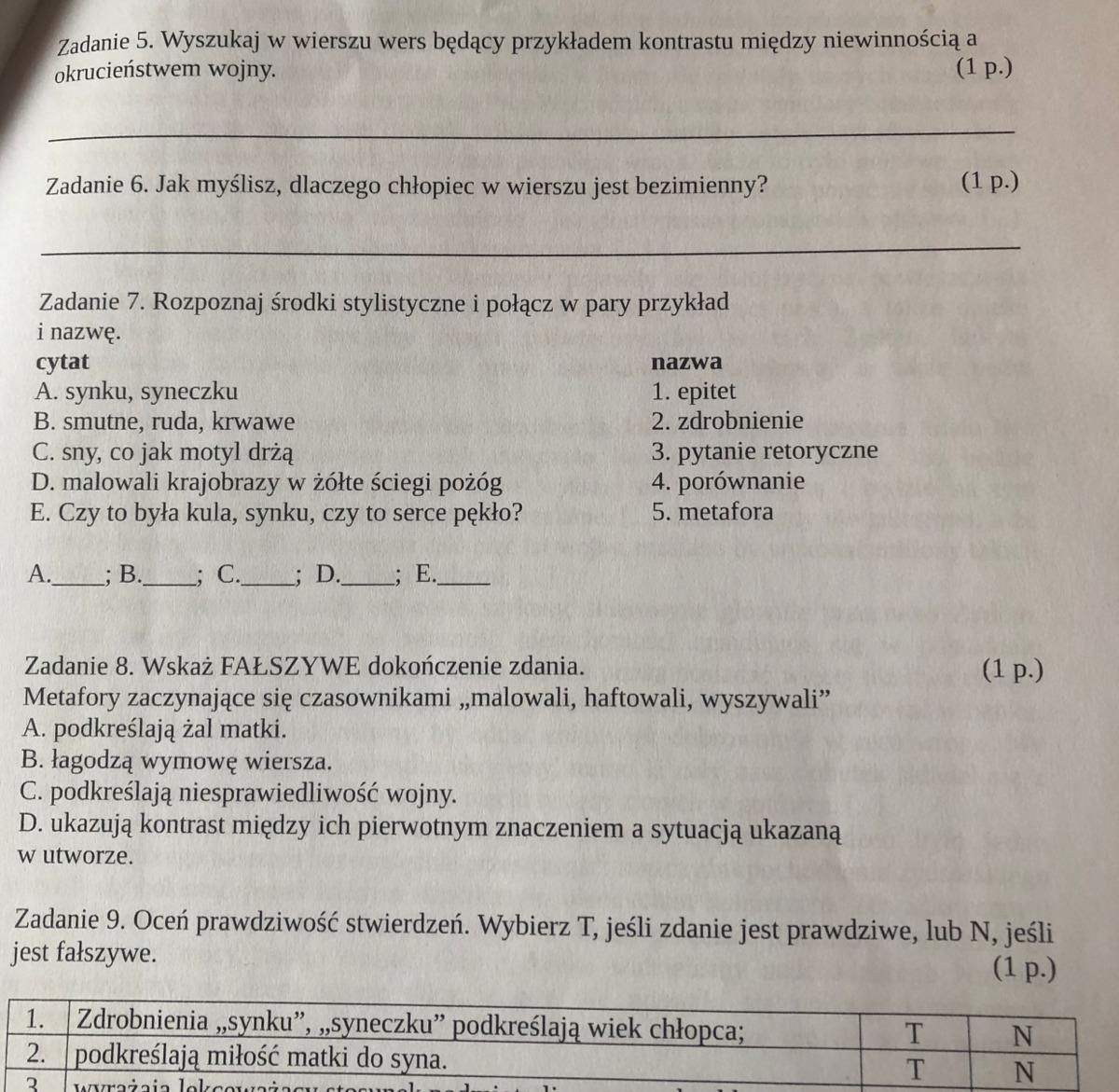 Te Pytania Są Do Wiersza Krzysztofa Kamila Baczyńskiego