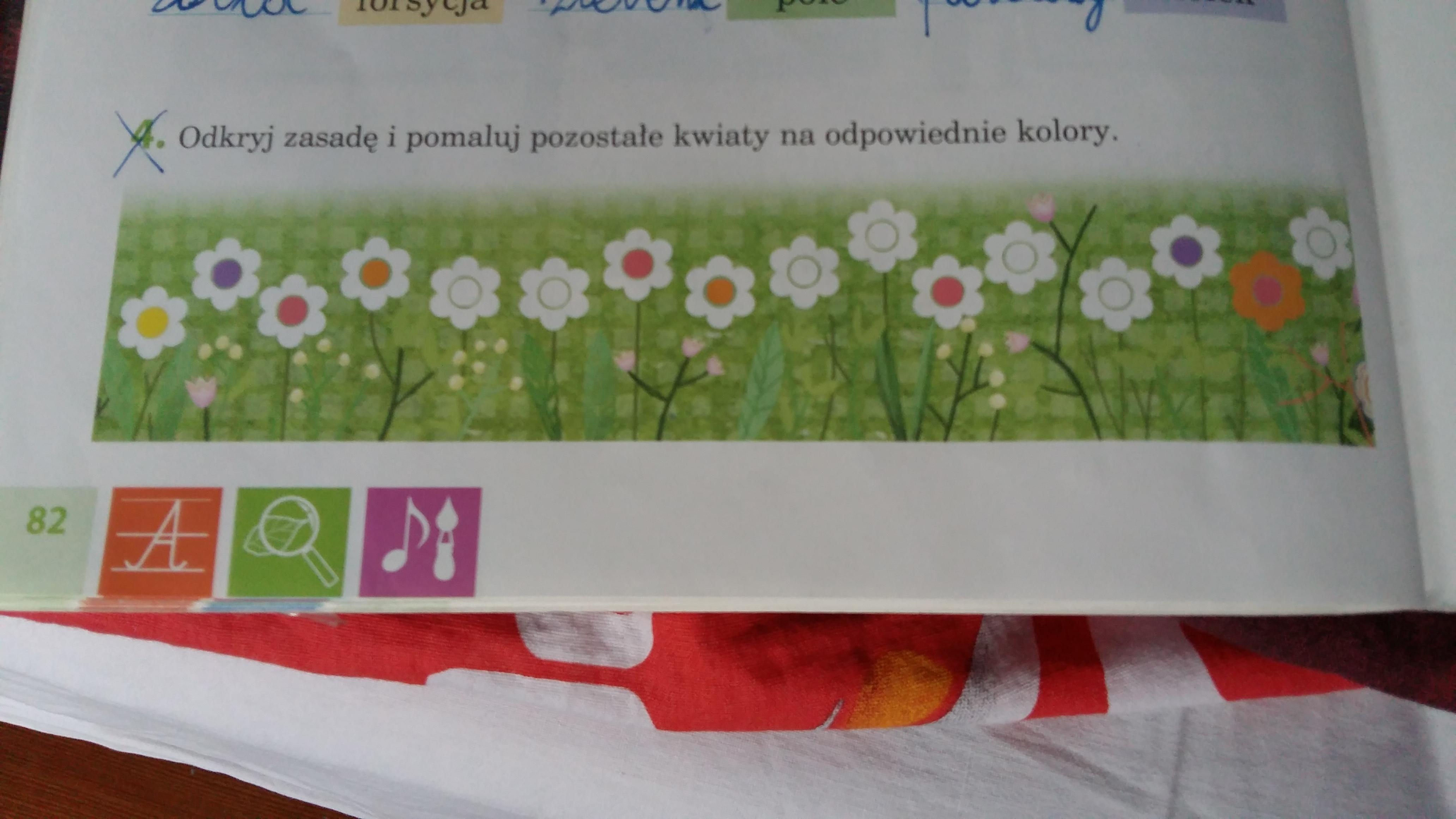 435941301e2fd Odkryj zasadę i pomaluj pozostałe kwiaty na odpowiednie kolory ...