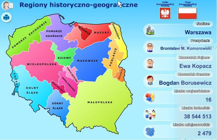 Krainy Geograficzne Na Mapie Wielkopolska Malopolska Mazowsze