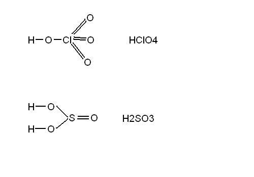 podaj wzór strukturalny oraz typ wiązania HClO4 oraz H2SO3 ...