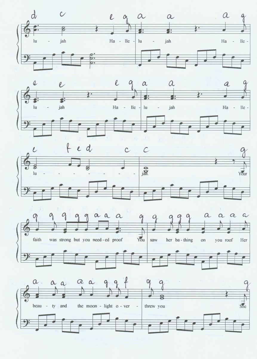 W Mega nuty do piosenki hallelujah na pianino ale pisane C D E F itd HF08