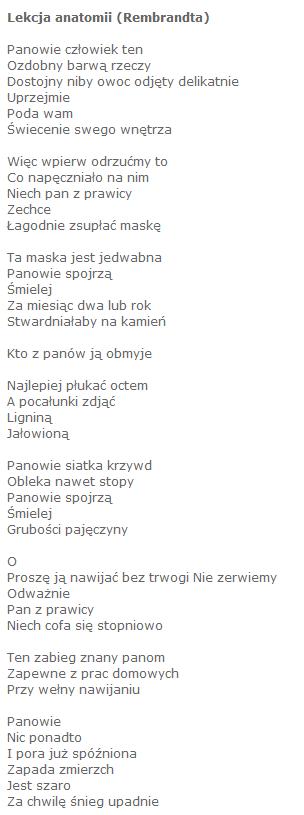 Napisz Porównanie Wiersza Stanisława Grochowiaka Pt Lekcja