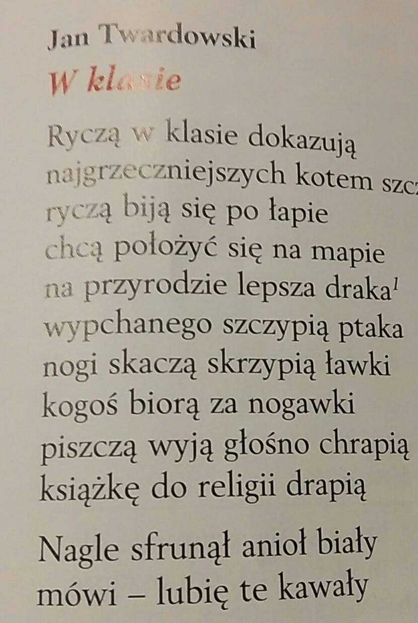 Wskadz W W Wierszu Rymy W Wierszu Jan Twardowski W Klasie