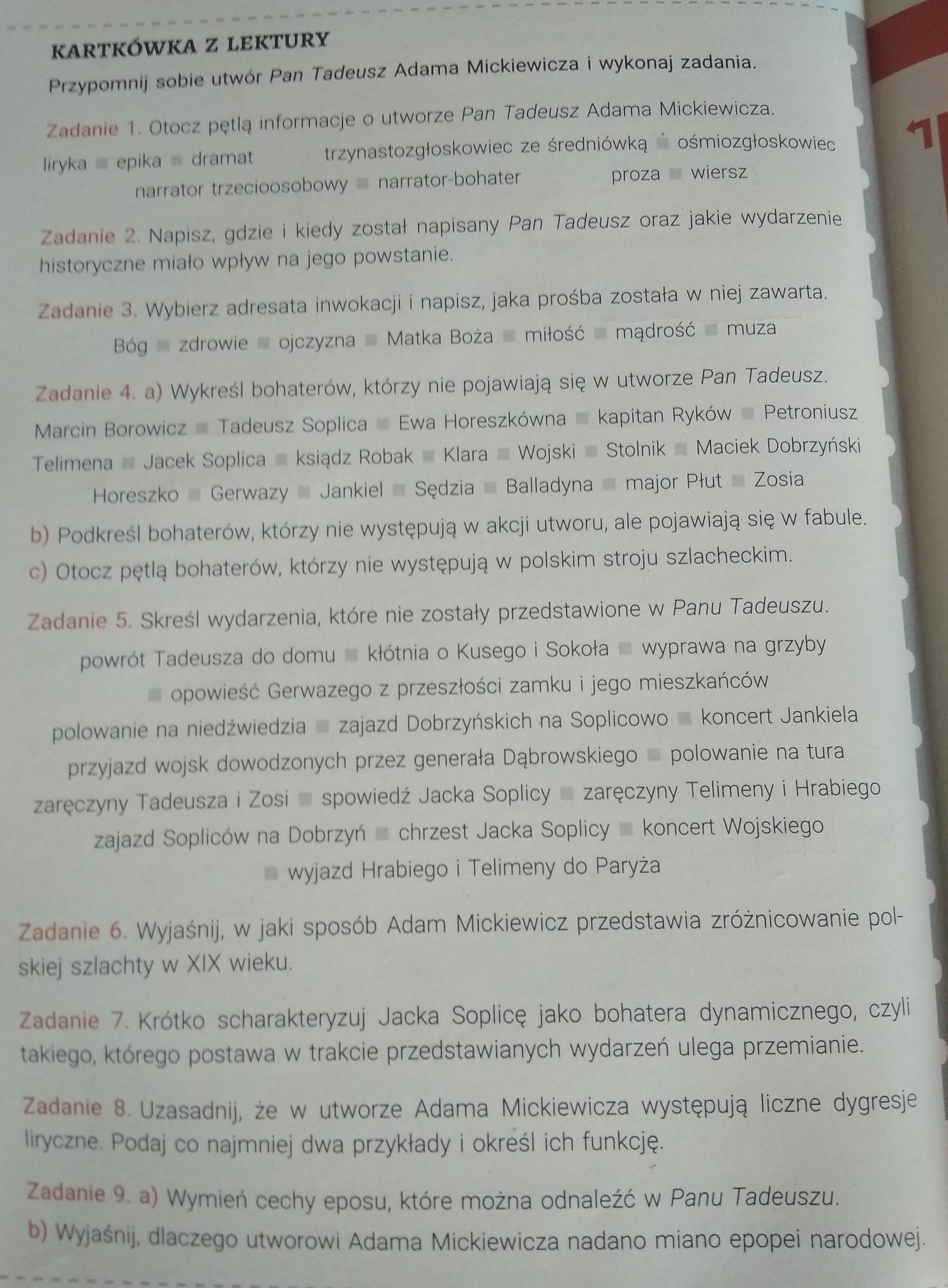 Katkówka Z Lektury Przypomnij Sobie Utwor Pan Tadeusz