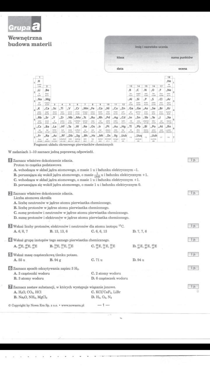 chemia klasa 7 test atomy i cząsteczki