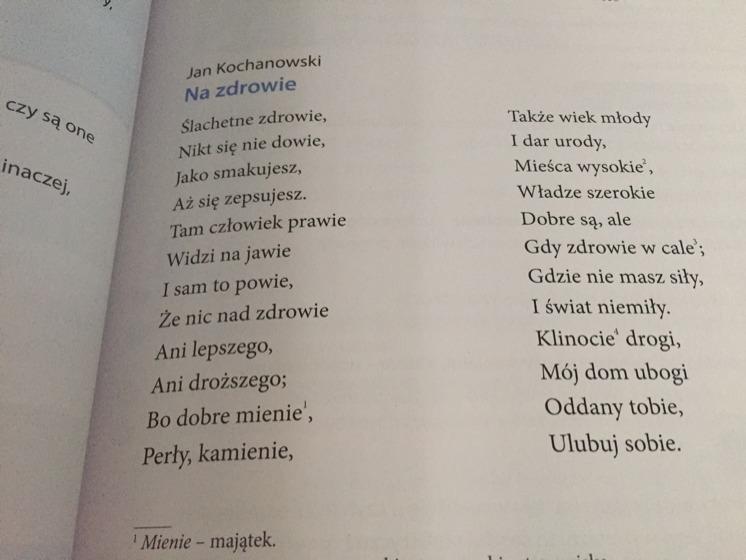 Przetłumacz Fraszkę Jana Kochanowskiego Na Zdrowie Na