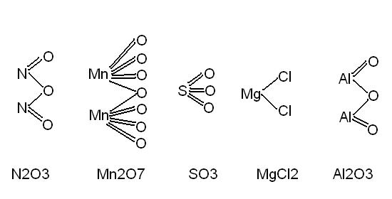 1.Napisz wzory strukturalne : N2O3, Mn2, O7,SO3, MgCl2 ...