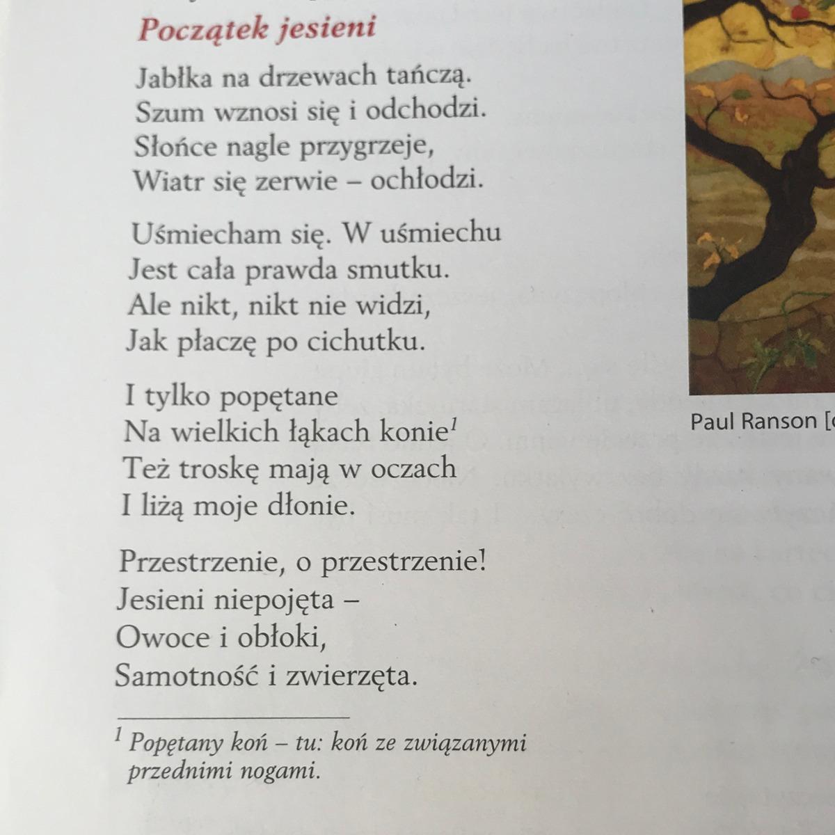 Podaj środki Poetyckie Z Wiersza Początek Jesieni Brainlypl