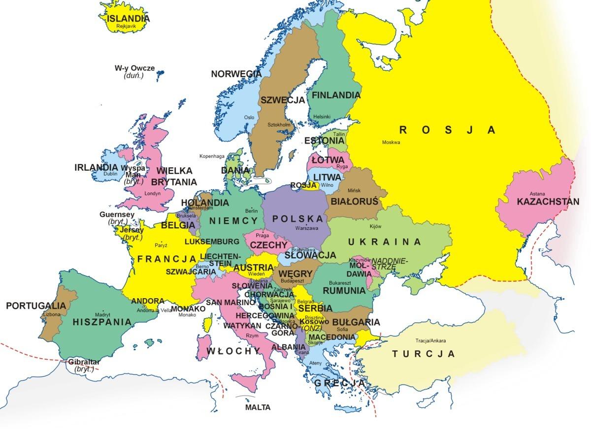 Na Mapie Konturowej Europy Zaznacz Wszystkie Kraje I Napisz Ich