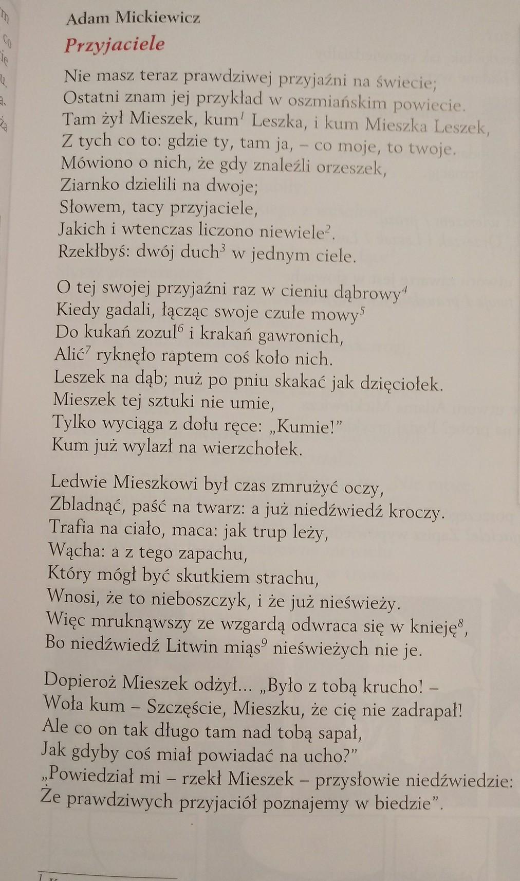 Wypisz Morał Z Wiersza Pt Przyjaciele Adama Mickiewicza W