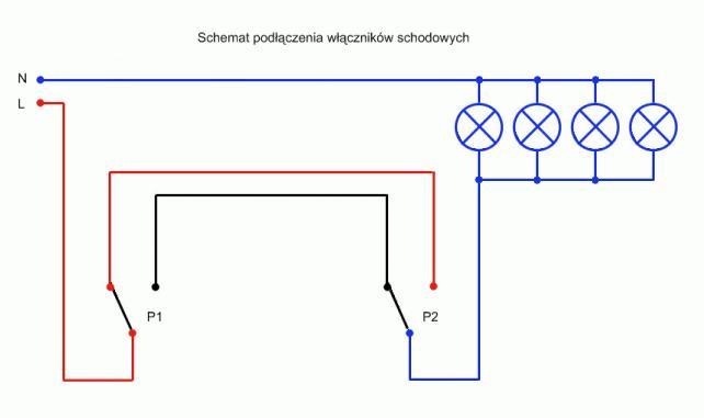 Schemat Połączenia Schodowego 4 Lamp Brainlypl