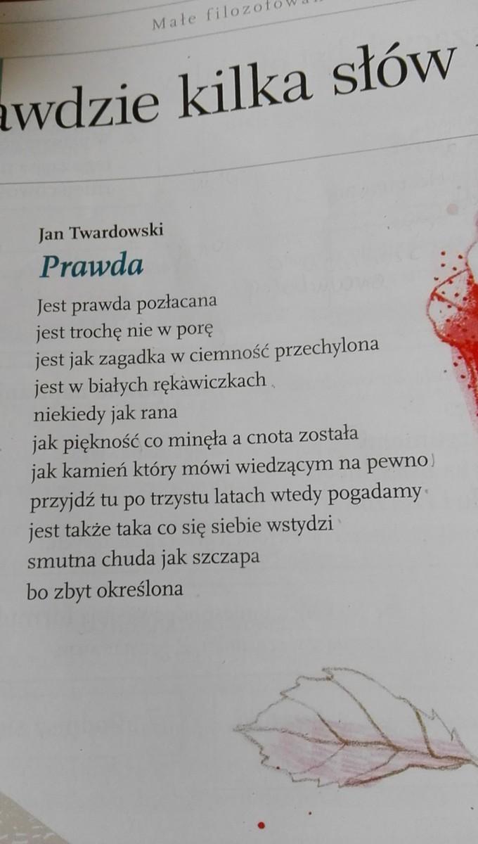 Z Wiersza Jana Twardowskiego Prawda Wypisz Przykłady