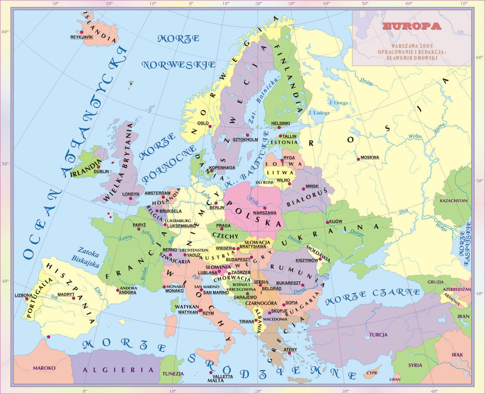 Przygotuj Zagadnienia Mapa Poltyczna Europy Panstwa I Stolice