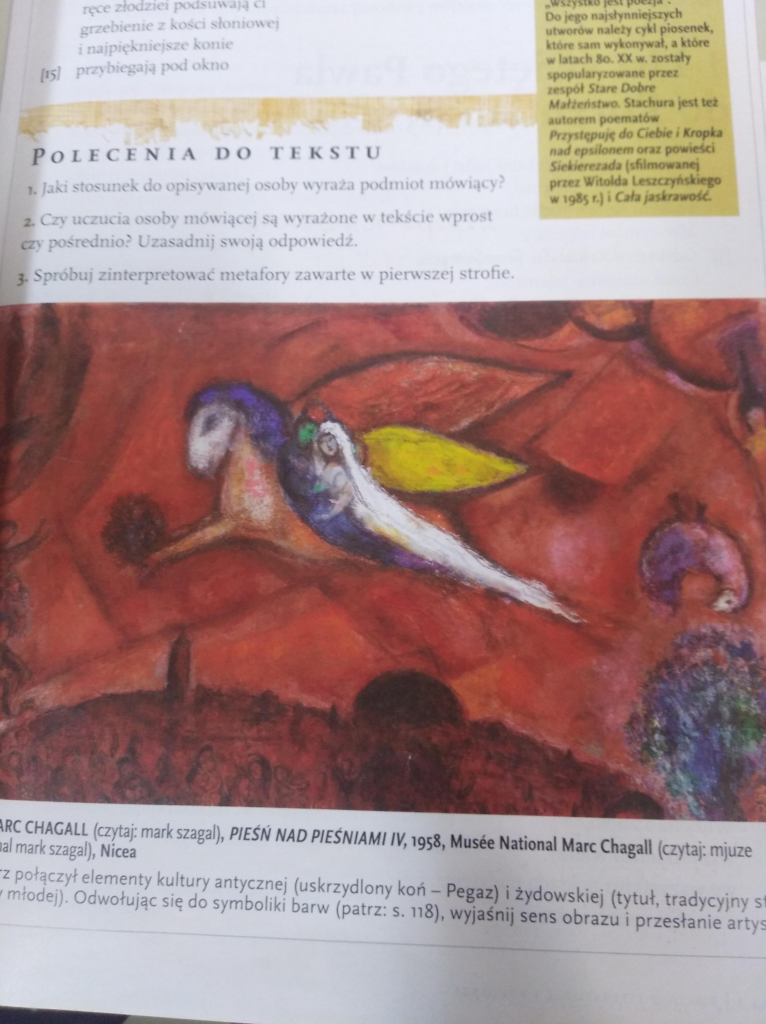 Krótki Opis Obrazu M Chagall Piesn Nad Piesniami Iv