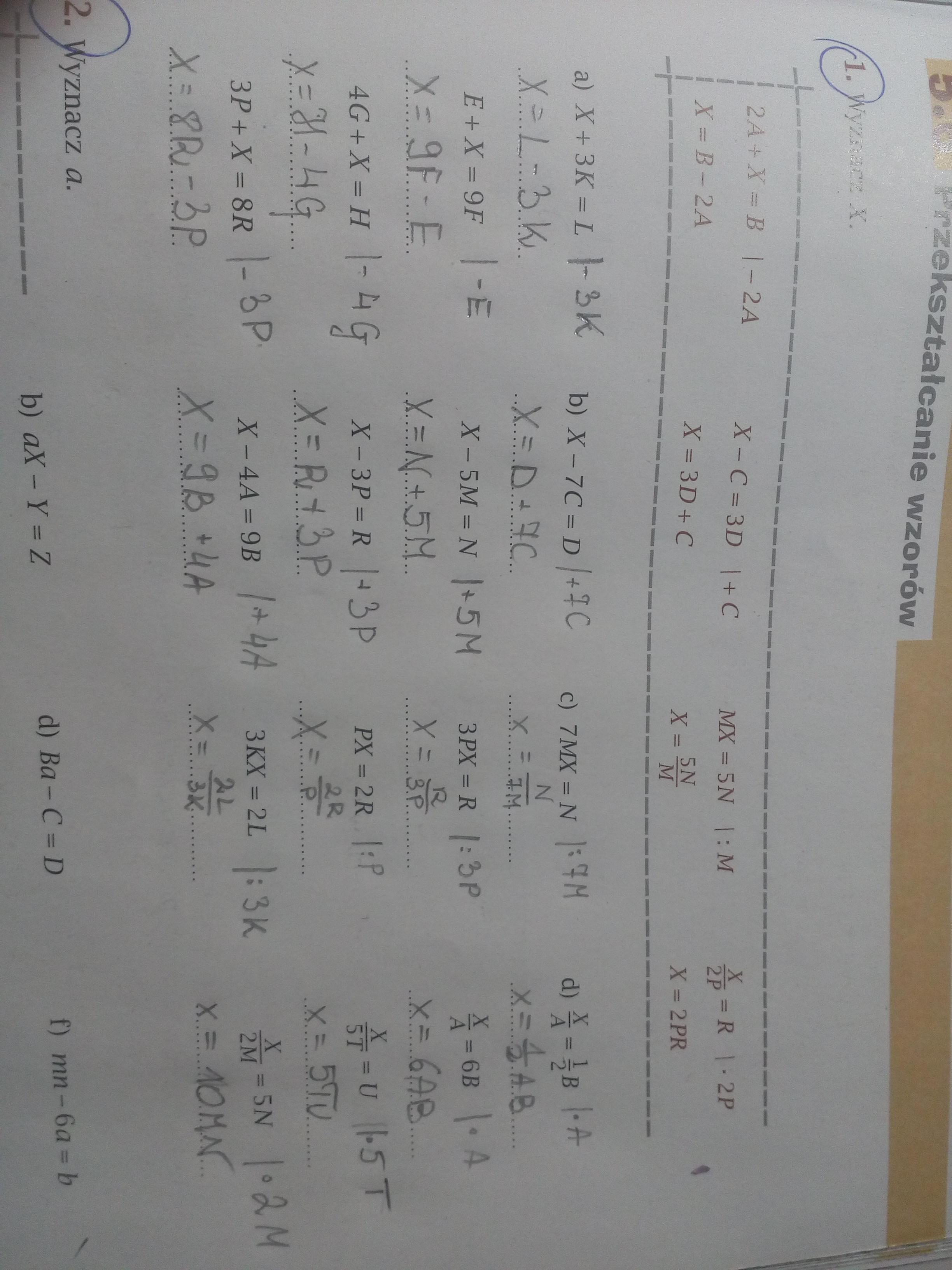 �9ᢹ�9f�x�r[��x��_Wyznaczx.a)X+3K=LE+X=9F4G+X=H3P+X=8Rb)X-7C=DX-5M=NX-3P=R-Brainly.pl