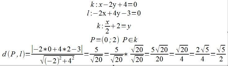 oblicz odległość między prostymi równoległymi k i l, jeśli ...