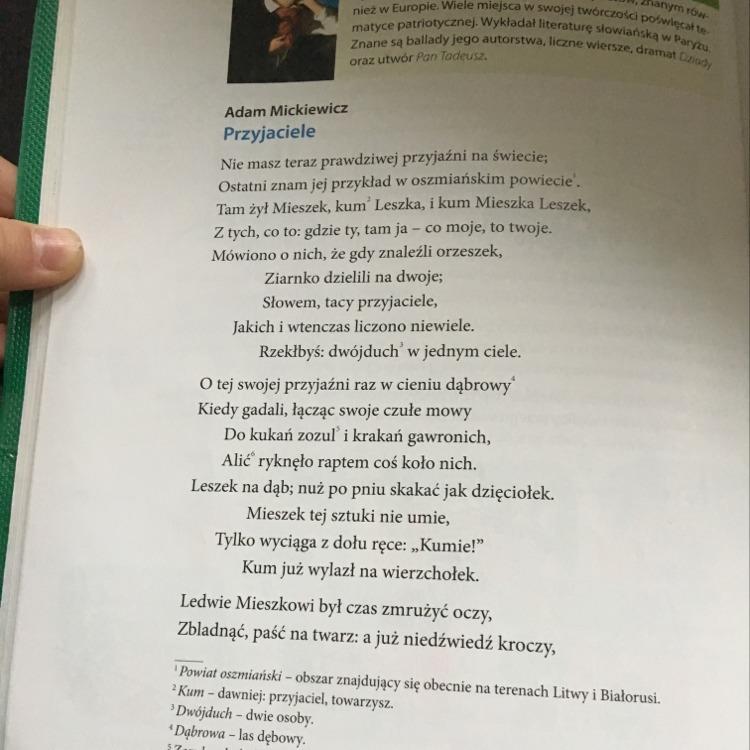 Jeden Wiersz Adama Mickiewicza 3 Zwrotki Może Być Też 4
