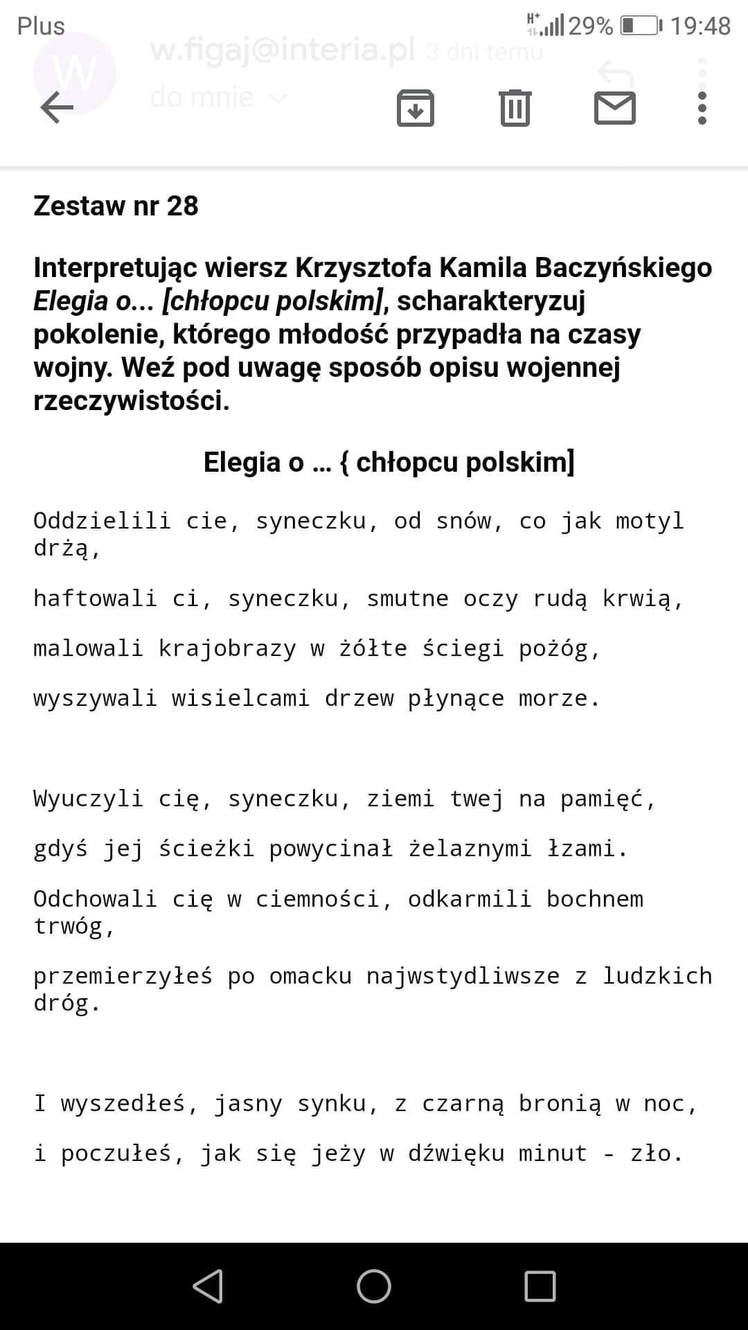 Interpretując Wiersz Krzysztofa Kamila Baczyńskiego Elegia O