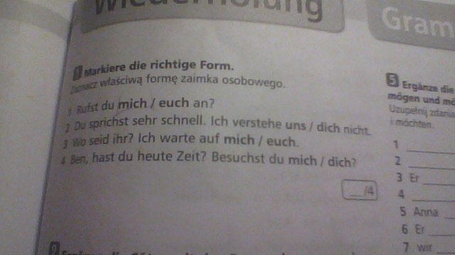 Sprawdzian z niemieckiego infos 1a kennenlernen