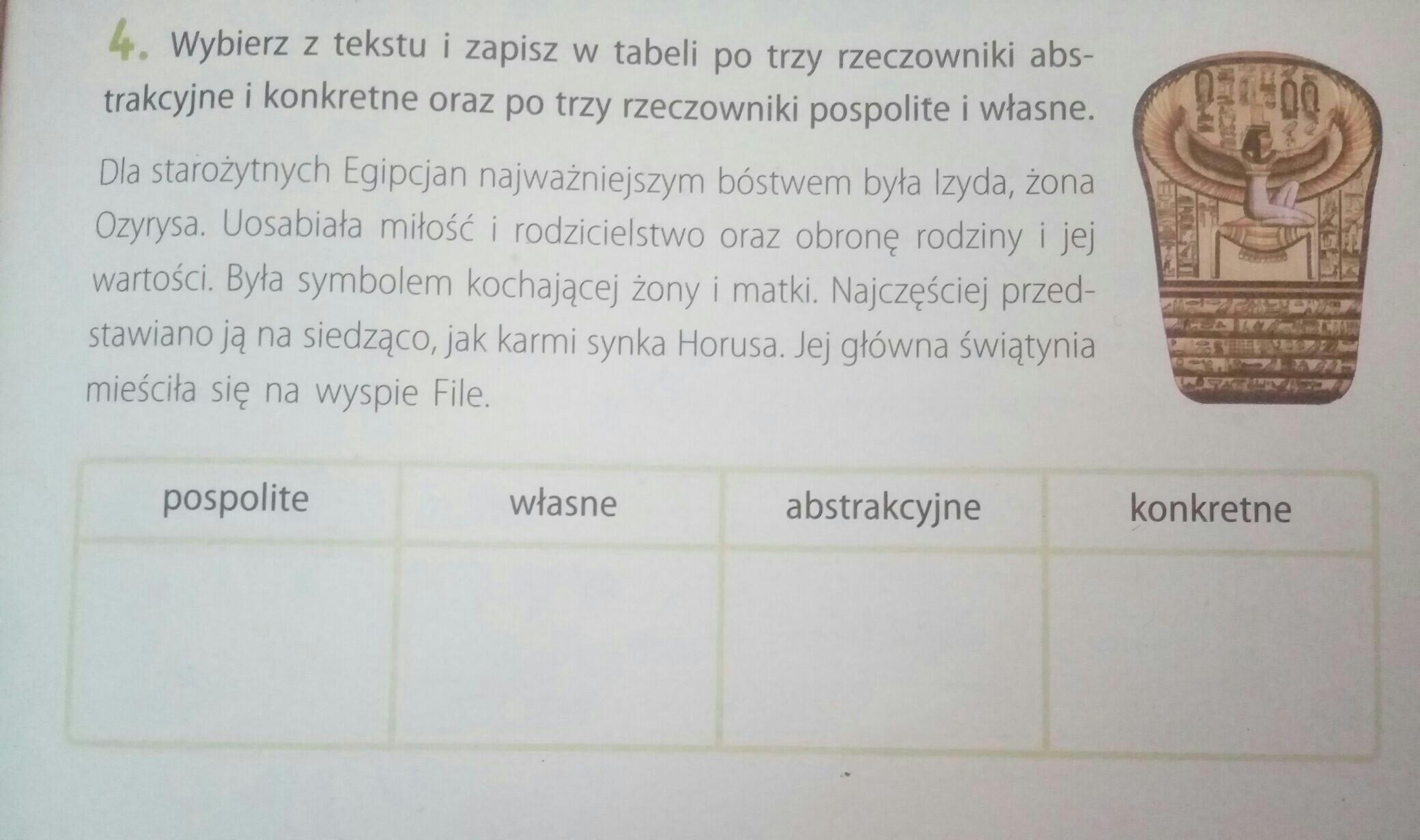 Wybierz z tekstu i zapisz w tabeli po trzy rzeczowniki abstrakcyjne i  konkretne oraz po trzy - Brainly.pl
