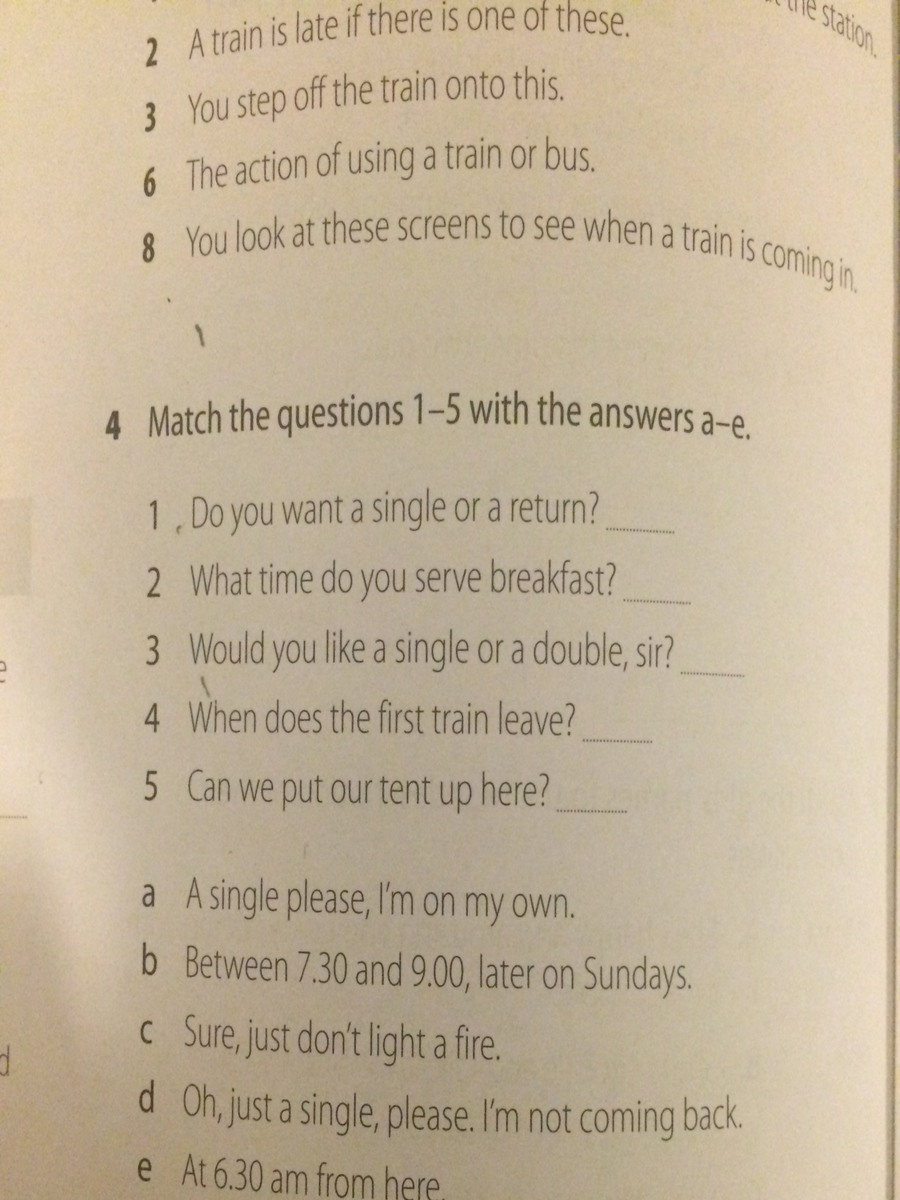 Match the questions 1-5 with the answers a-e. - Brainly.pl