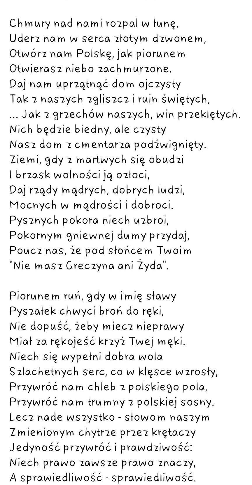 Dam 83p Ale Bez Dziwnych Odp I Szybkojuliusz Tuwim Modlitwa Fragment Poematu Kwiaty Polskie 1zad Brainly Pl