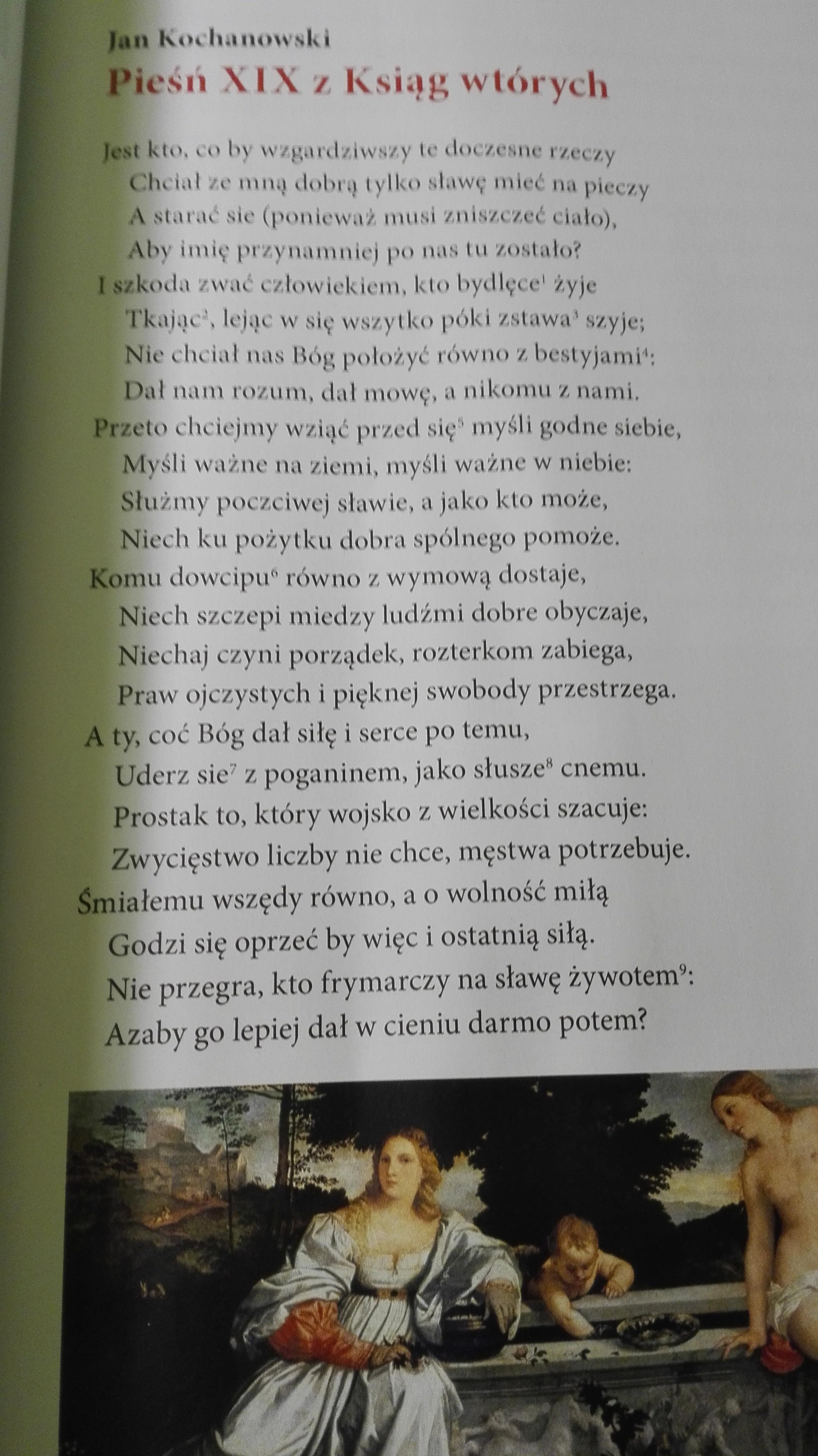 Jan Kochanowski Pieśń 19 Z Ksiąg Wtórnych 1wyszukaj W